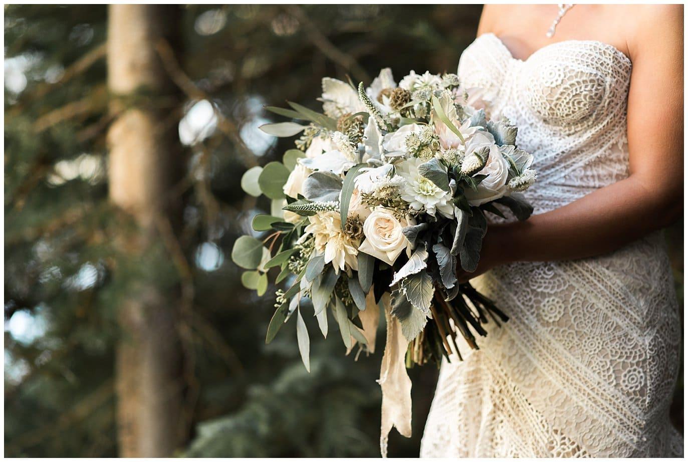 soft neutral and mint bridal bouquet