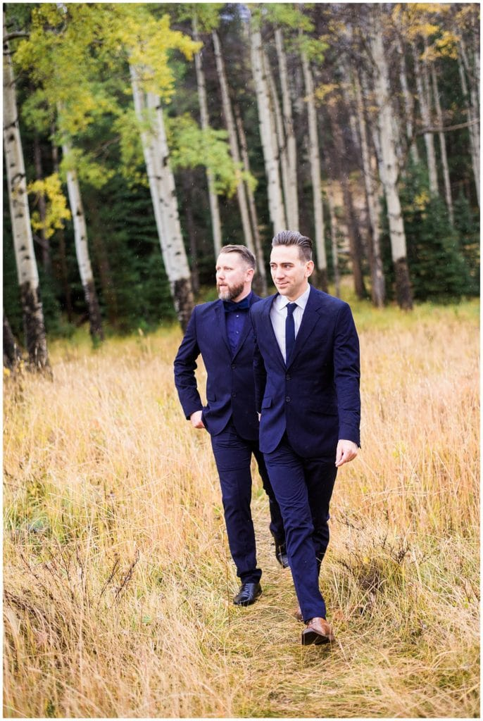 two grooms in navy suits Colorado elopement photo