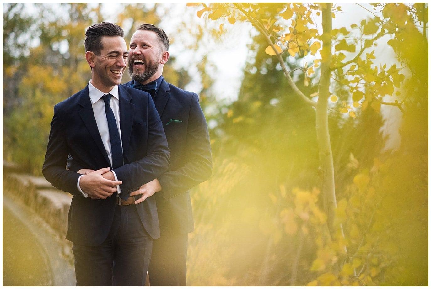 fall same-sex colorado wedding photo