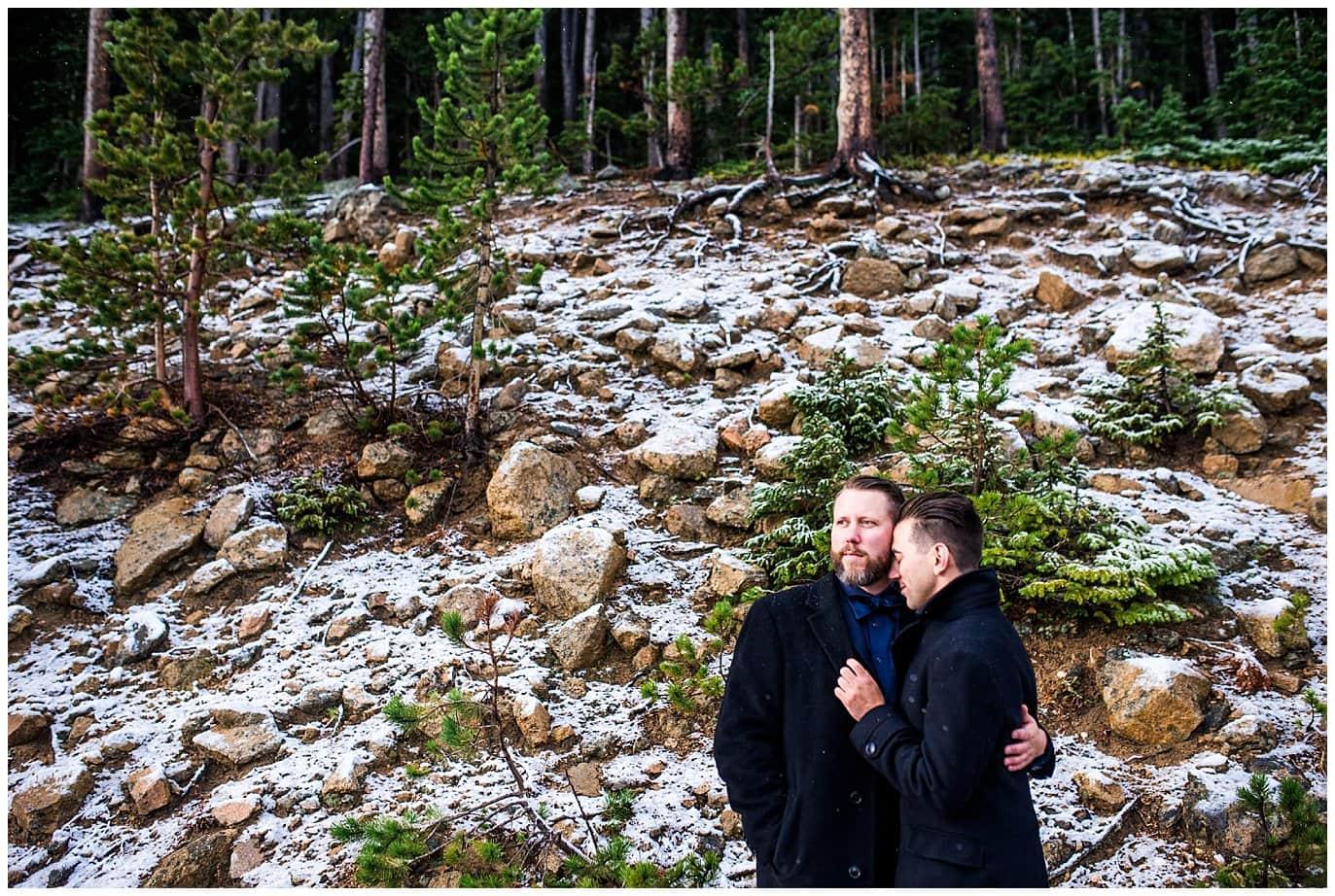 winter rocky mountain elopement photo