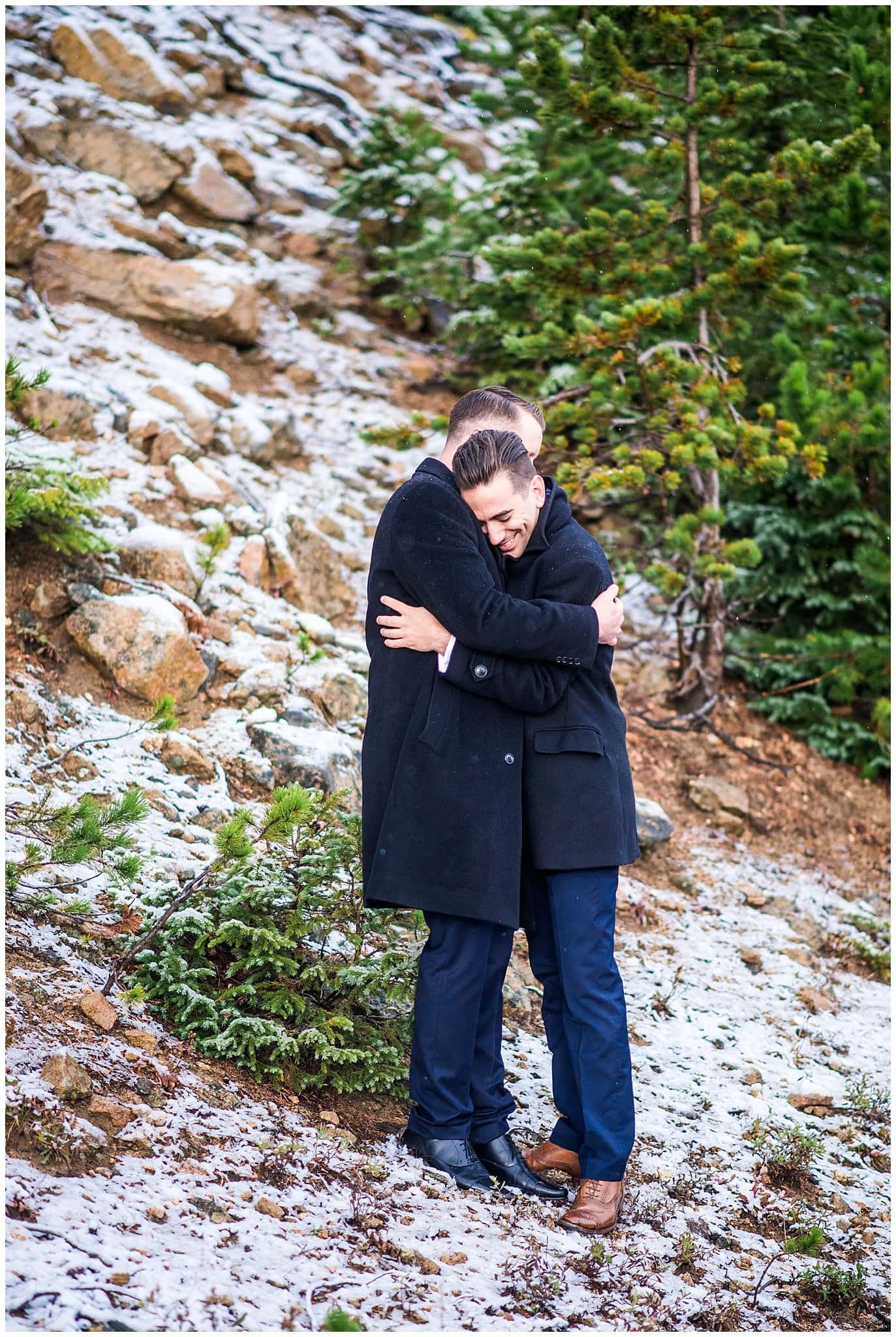 two grooms in navy suits eloping photo