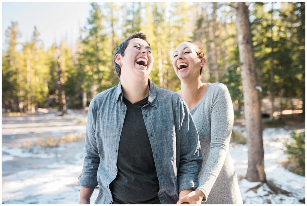 fun same-sex engagement photo