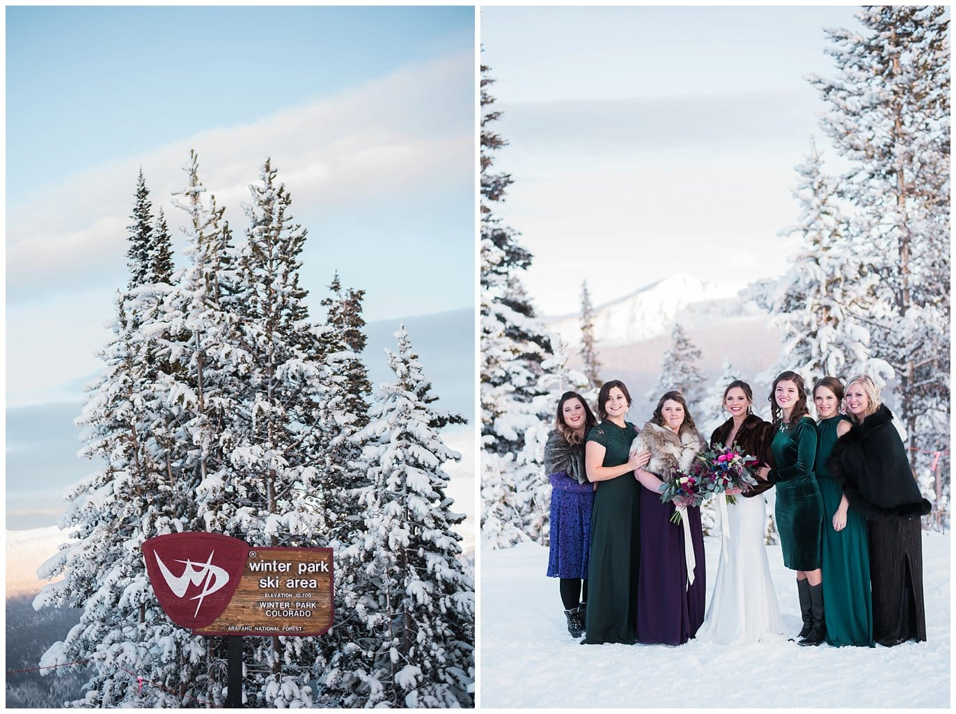 colorful bridal party winter wedding photo