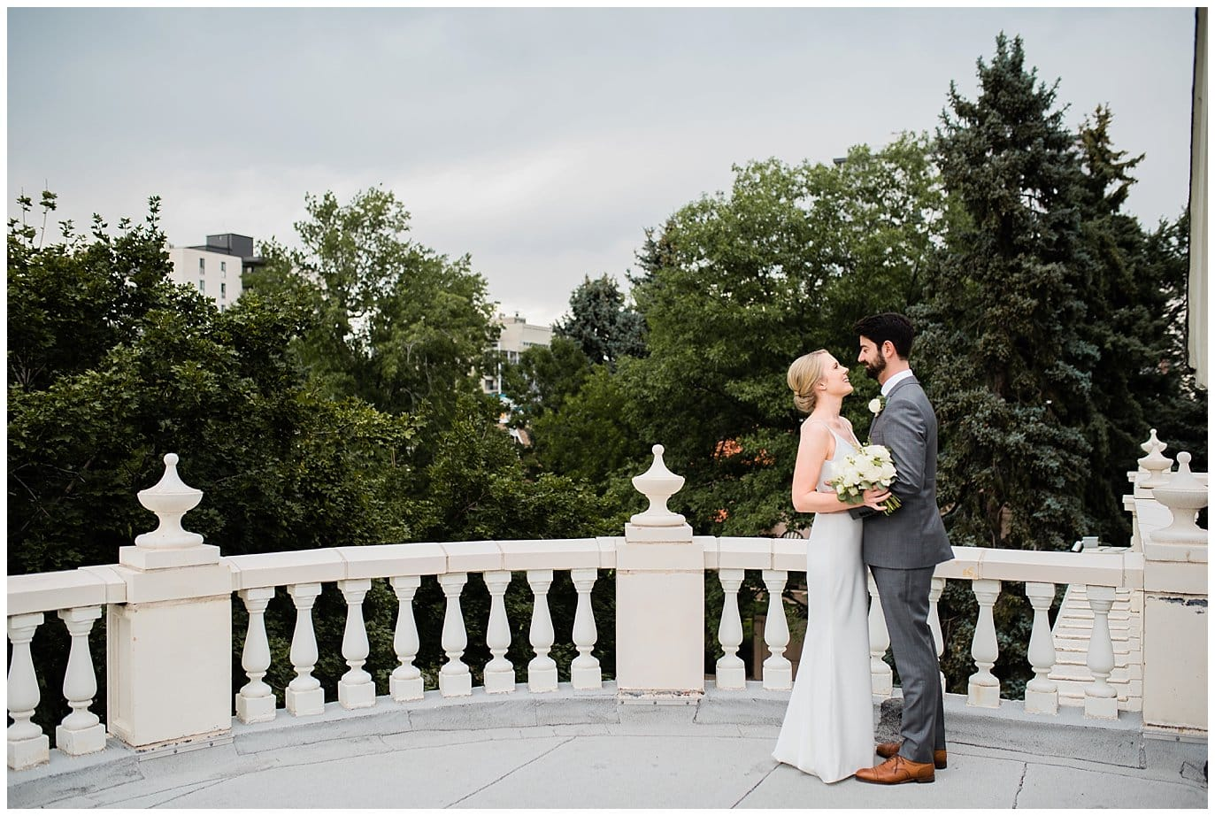bride and groom romantic wedding portrait at grant humphrey's mansion by Colorado Gay wedding photographer jennie crate photographer