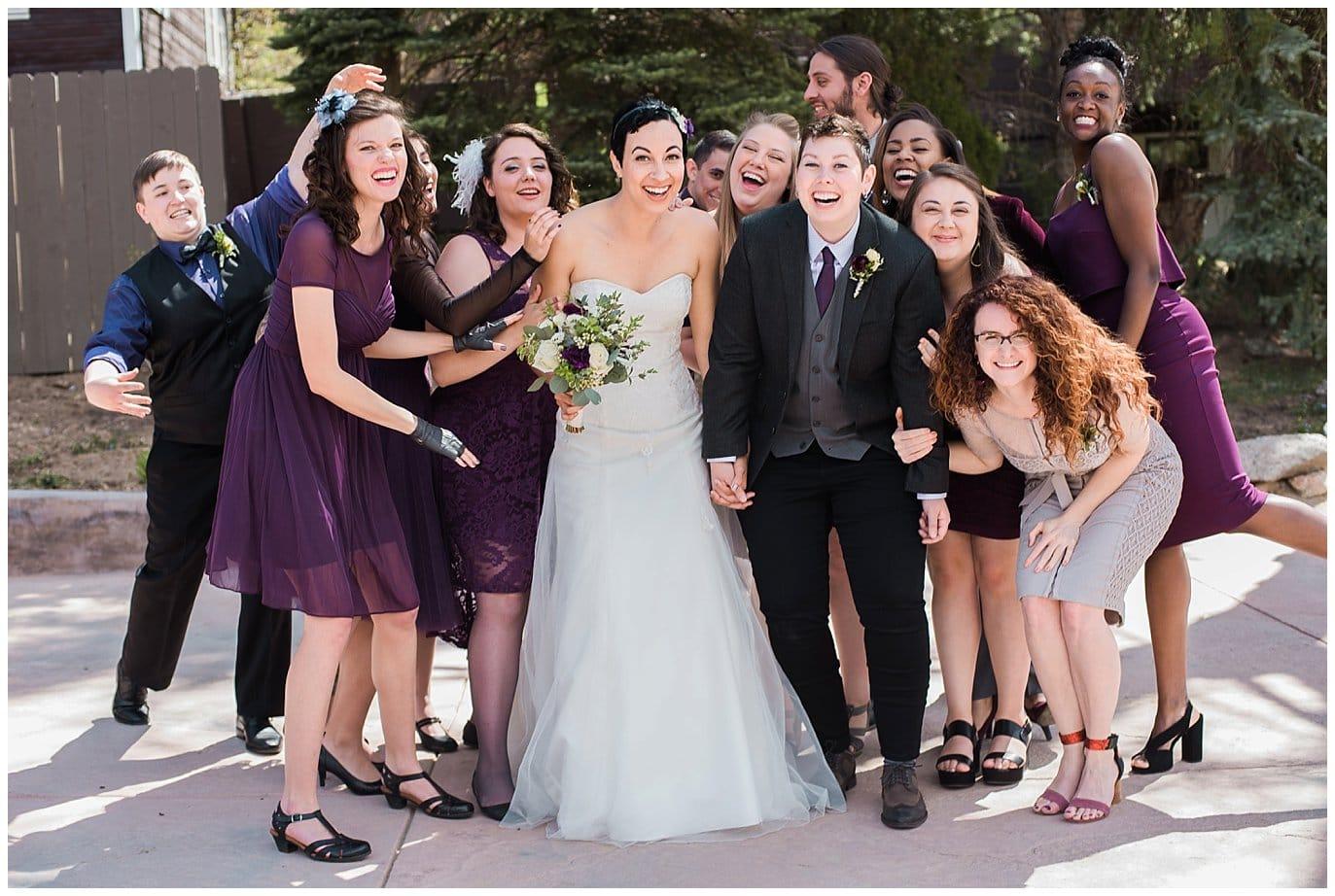 Fun bridal party at LGBT colorado wedding photo