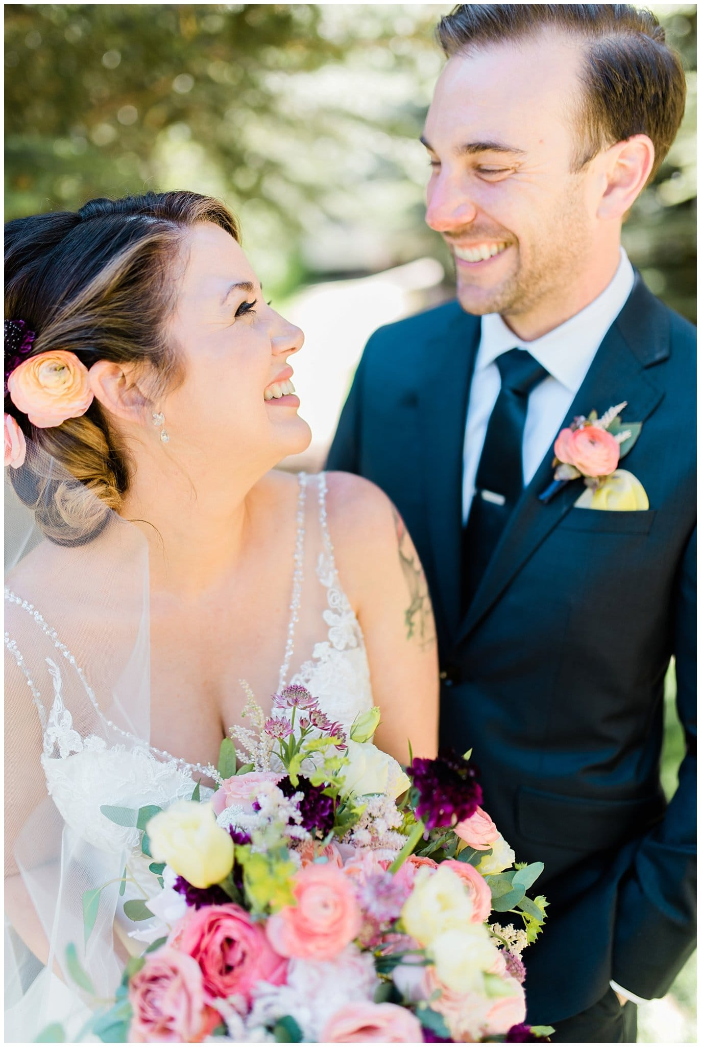 Bride and groom after first look at Sonnenalp Hotel wedding by Vail wedding photographer Jennie Crate