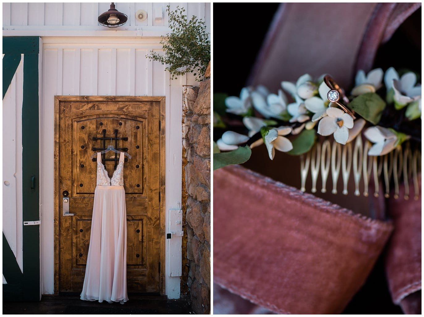 Truvelle dress and rose gold wedding band at Deer Creek Valley Ranch wedding by Denver Wedding Photographer Jennie Crate Photographer