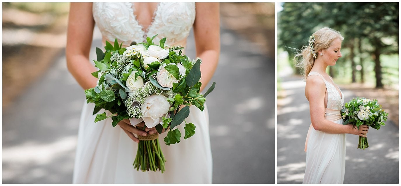 Green and Ivory Bridal bouquet at Deer Creek Valley Ranch wedding by Deer Creek Valley Ranch Wedding Photographer Jennie Crate Photographer