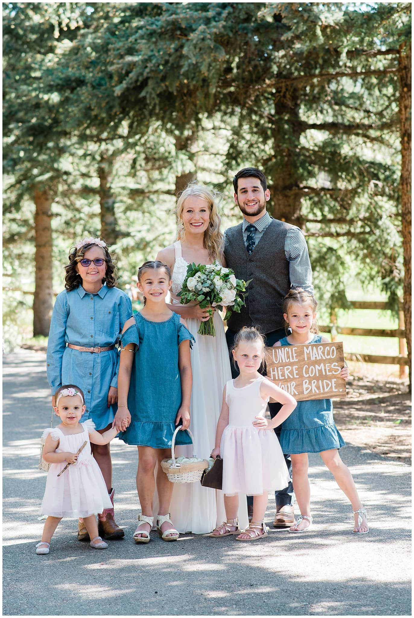 denim and lace bridal party outfits at Deer Creek Valley Ranch wedding by Conifer Wedding Photographer Jennie Crate Photographer