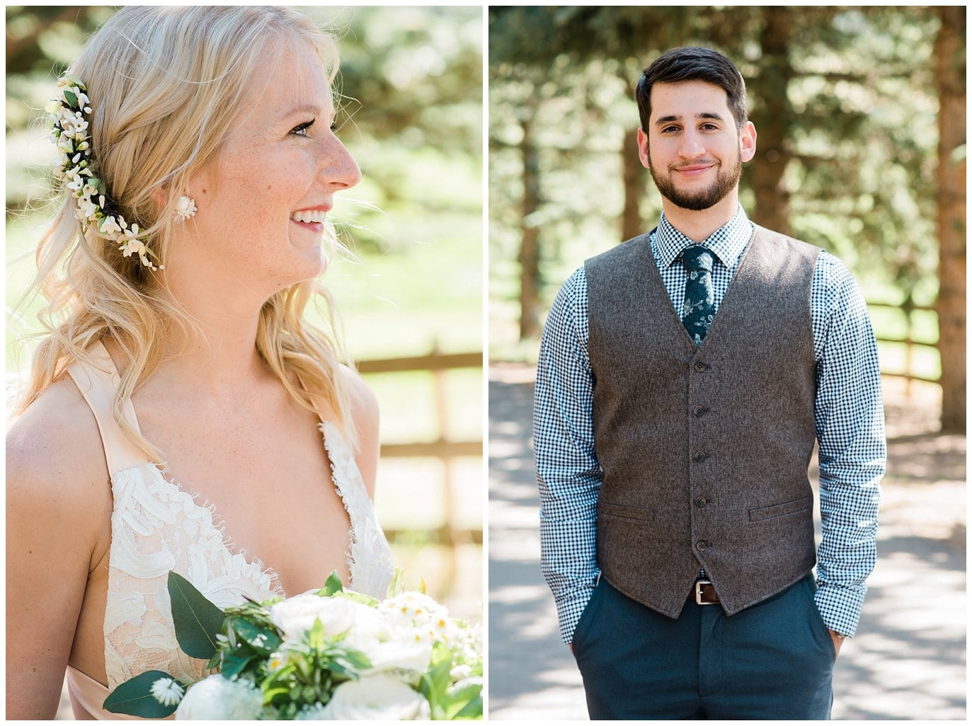 flower bridal hairpiece and groom with flowered tie at Deer Creek Valley Ranch wedding by Deer Creek Valley Ranch Wedding Photographer Jennie Crate Photographer