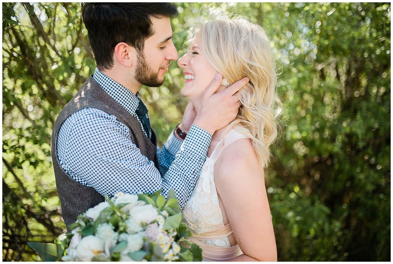 Romantic bride and groom at Deer Creek Valley Ranch wedding by Boulder Wedding Photographer Jennie Crate Photographer