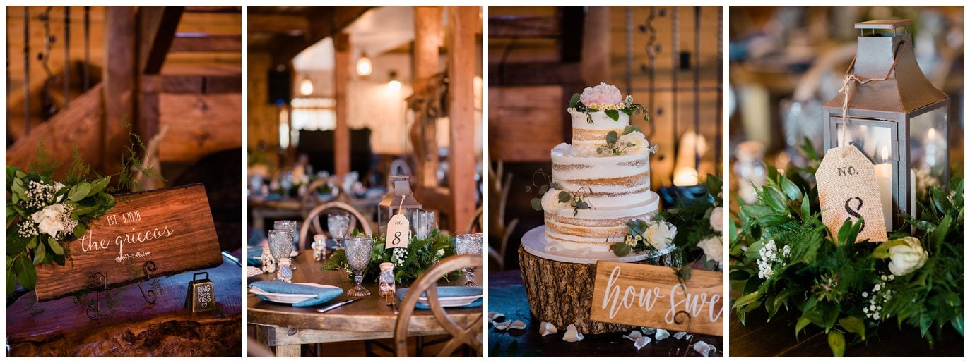 Glow Events rustic wedding decor at Deer Creek Valley Ranch wedding by Colorado Wedding Photographer Jennie Crate Photographer