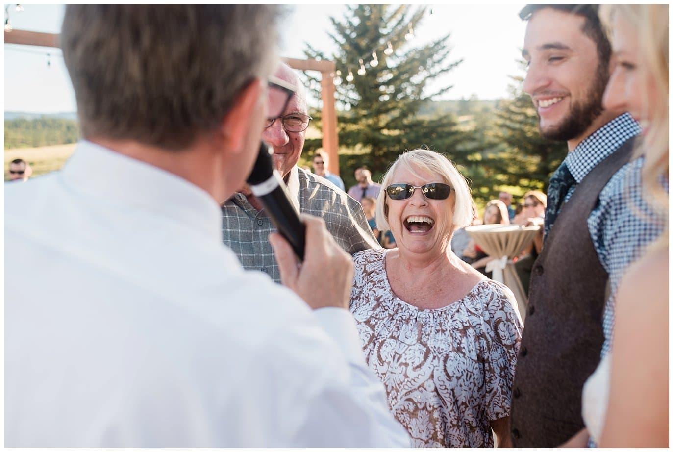 wedding reception at Deer Creek Valley Ranch wedding by Boulder Wedding Photographer Jennie Crate Photographer