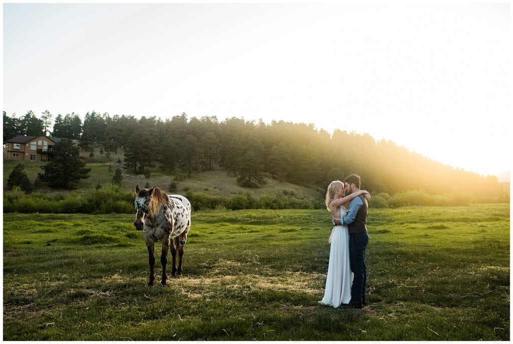 bride and groom in field at sunset with horse at Deer Creek Valley Ranch wedding by Denver Wedding Photographer Jennie Crate, Photographer