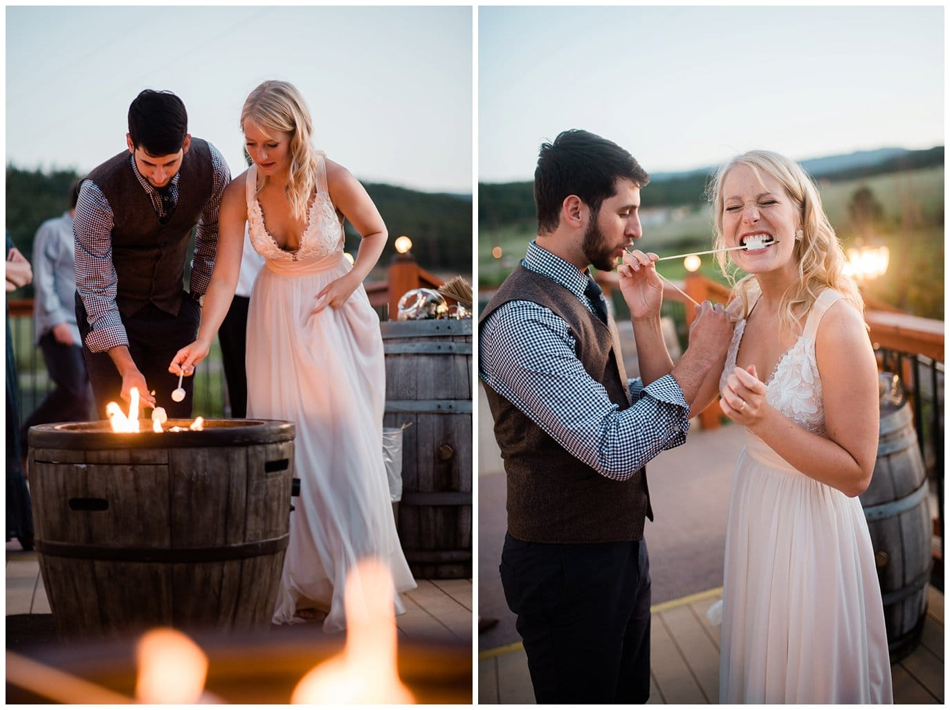 bride and groom eating s'mores by firepit at Deer Creek Valley Ranch wedding by Colorado Wedding Photographer Jennie Crate Photographer