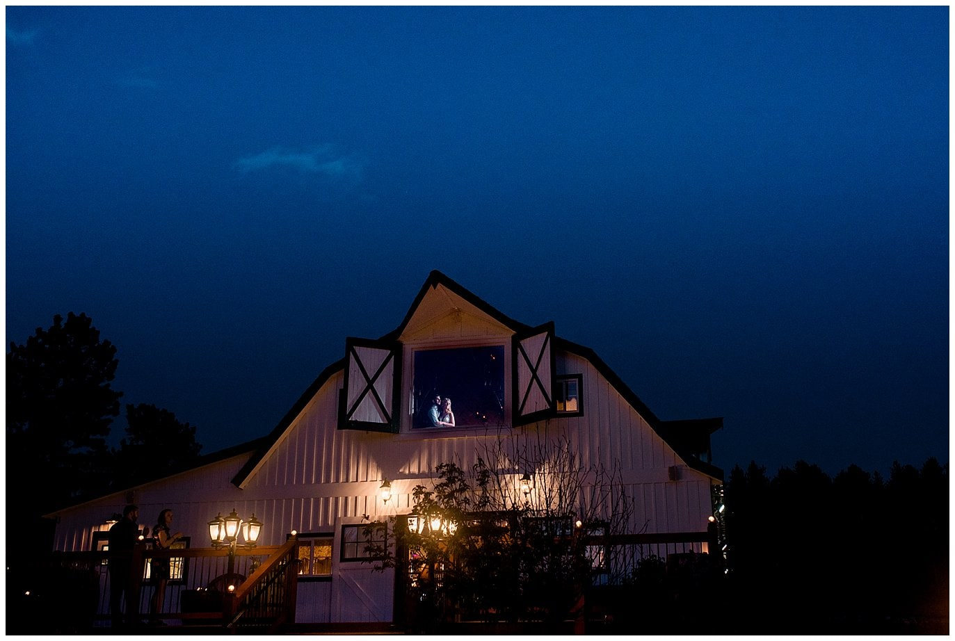 night time shot of bride and groom at Deer Creek Valley Ranch wedding by Colorado Wedding Photographer Jennie Crate Photographer