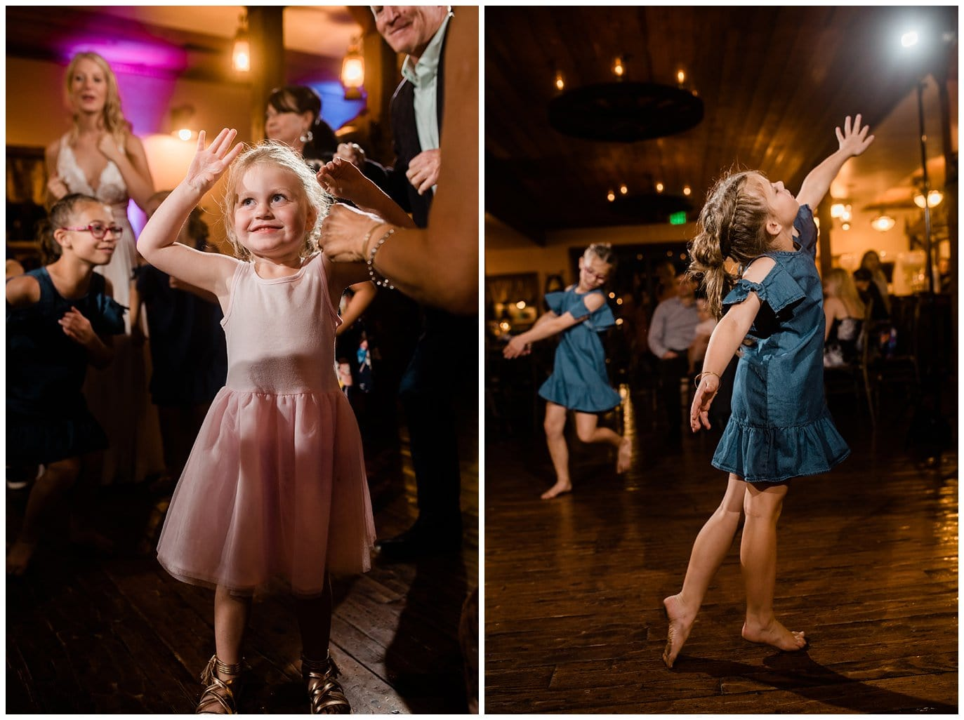 reception dancing in barn at Deer Creek Valley Ranch wedding by Colorado Wedding Photographer Jennie Crate Photographer