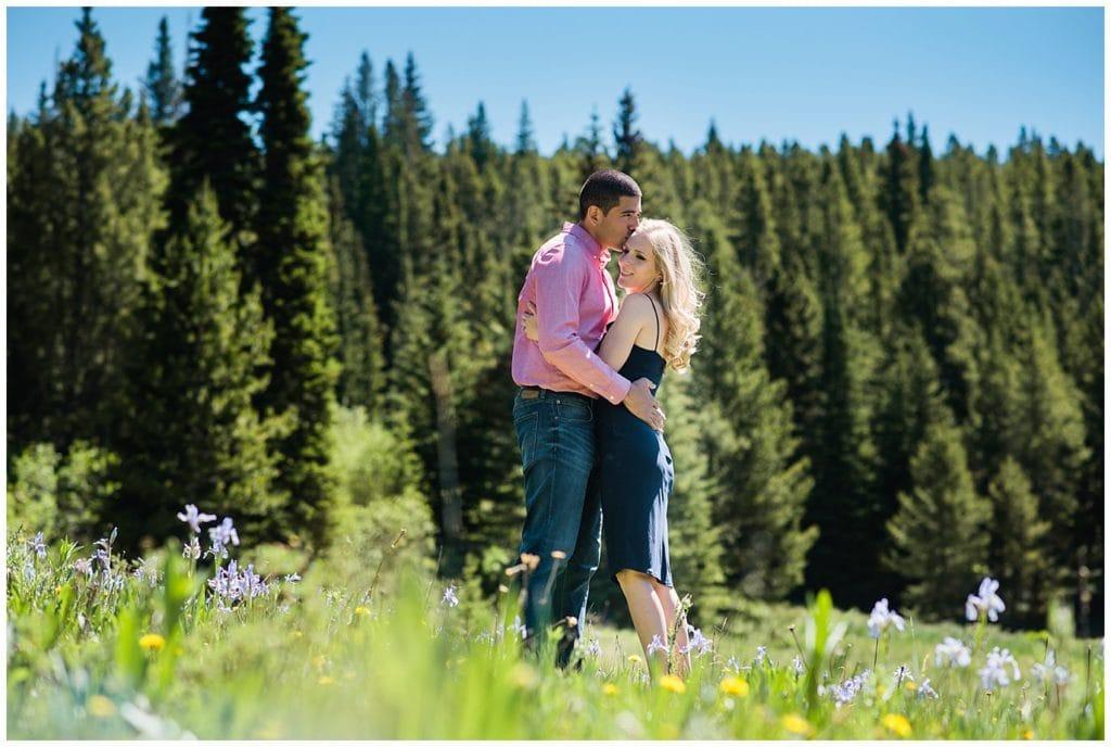wildflower engagement photo