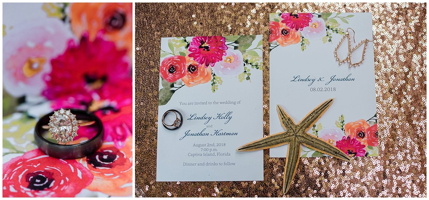 sparkly and colorful Captiva Island Wedding photo