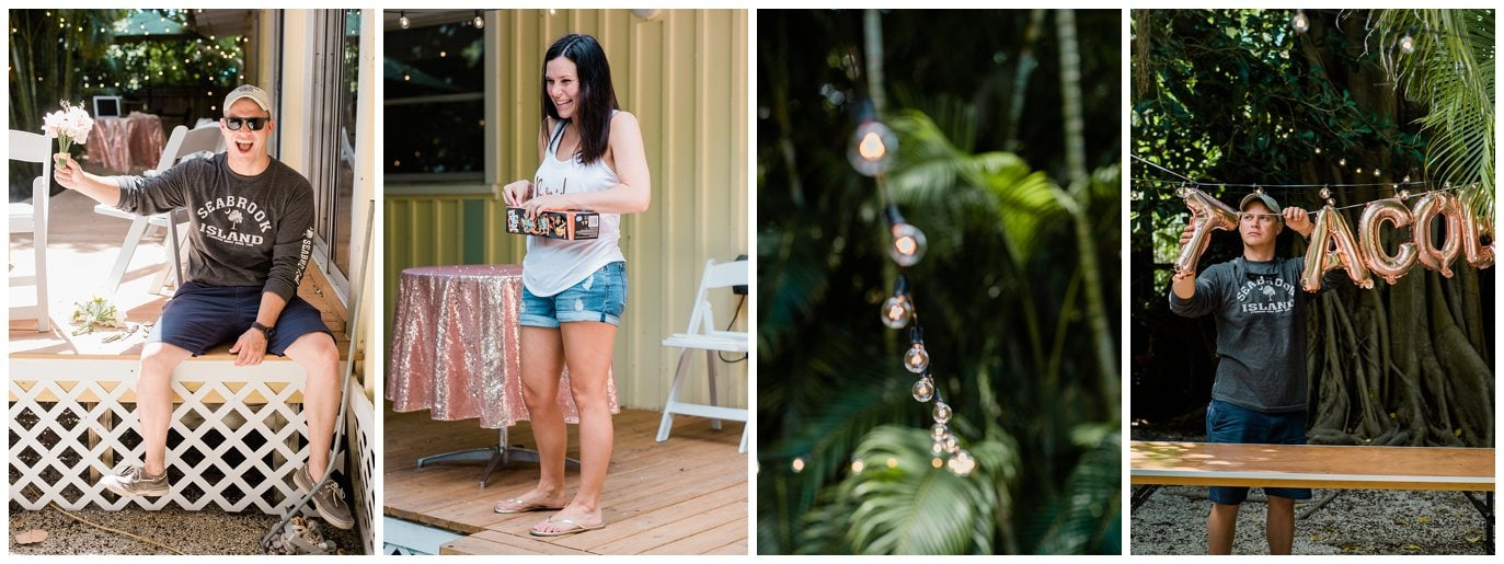Decorating for backyard captiva island wedding photo