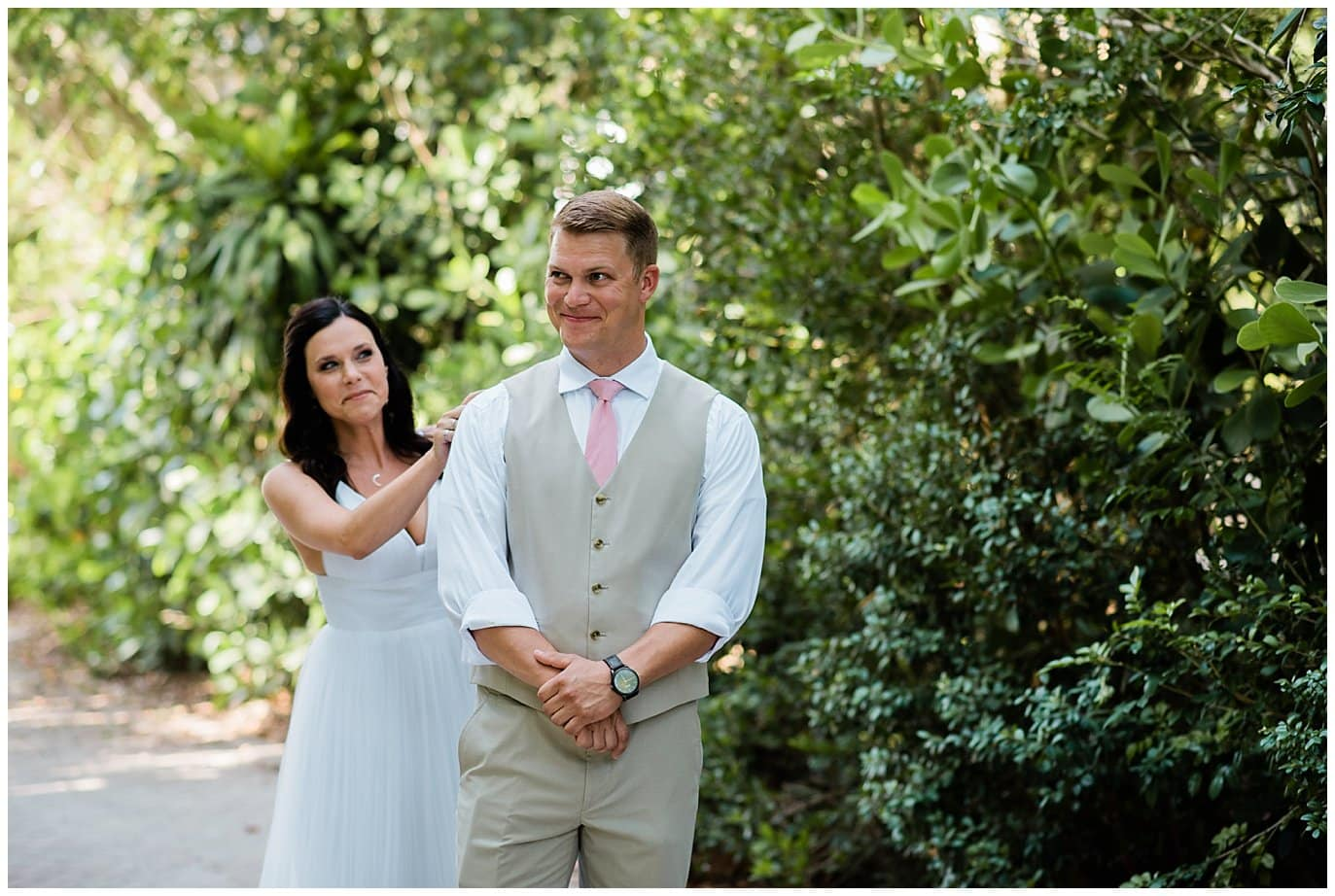 first look Captiva Island wedding photo