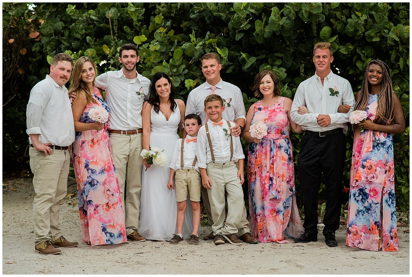 Captiva Island beach wedding bridal party photo