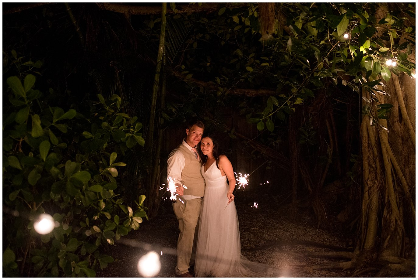 sparkler bride and groom photo