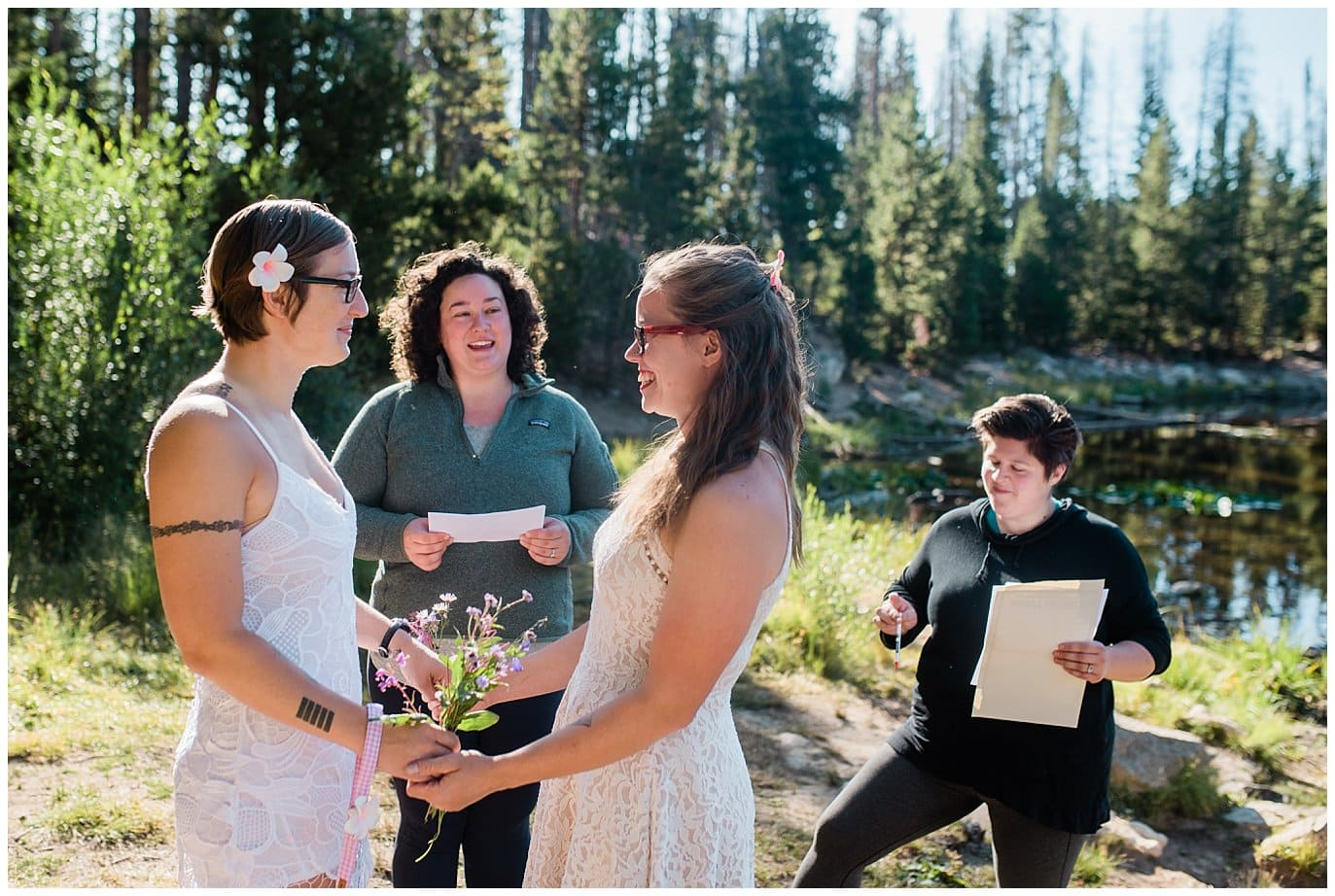 Vows by Lily Lake at sunrise photo