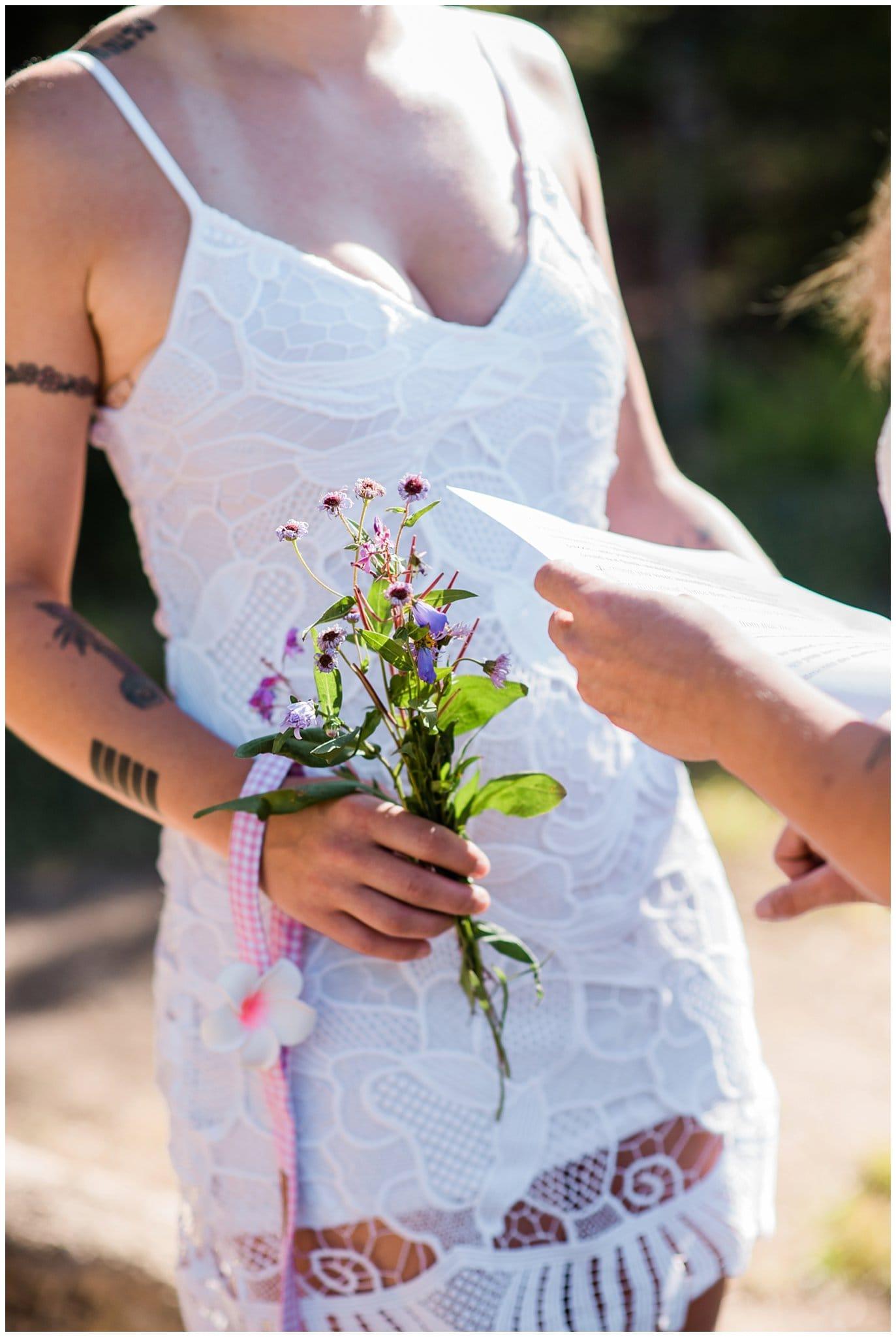 wildflower bouquet for sunrise elopement photo