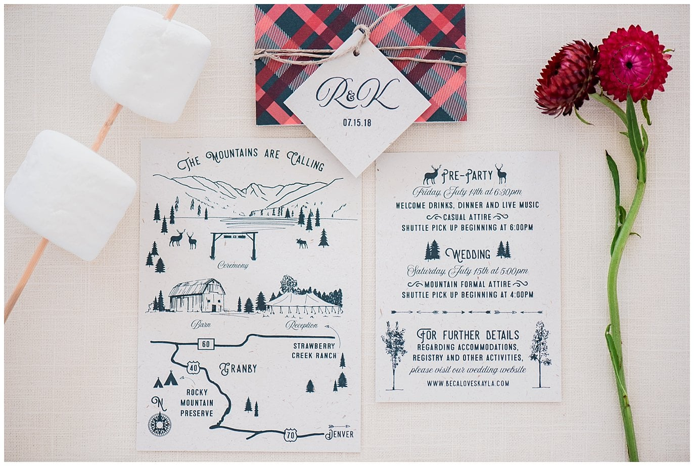Hand sketched mountian wedding invitation photo