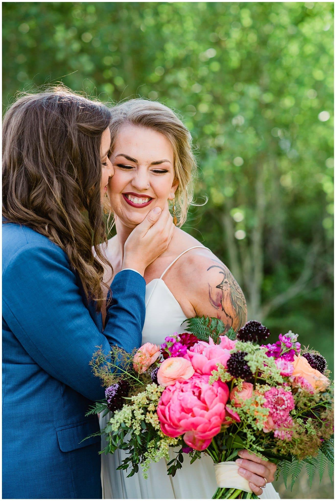 Colorful colorado mountain wedding photo