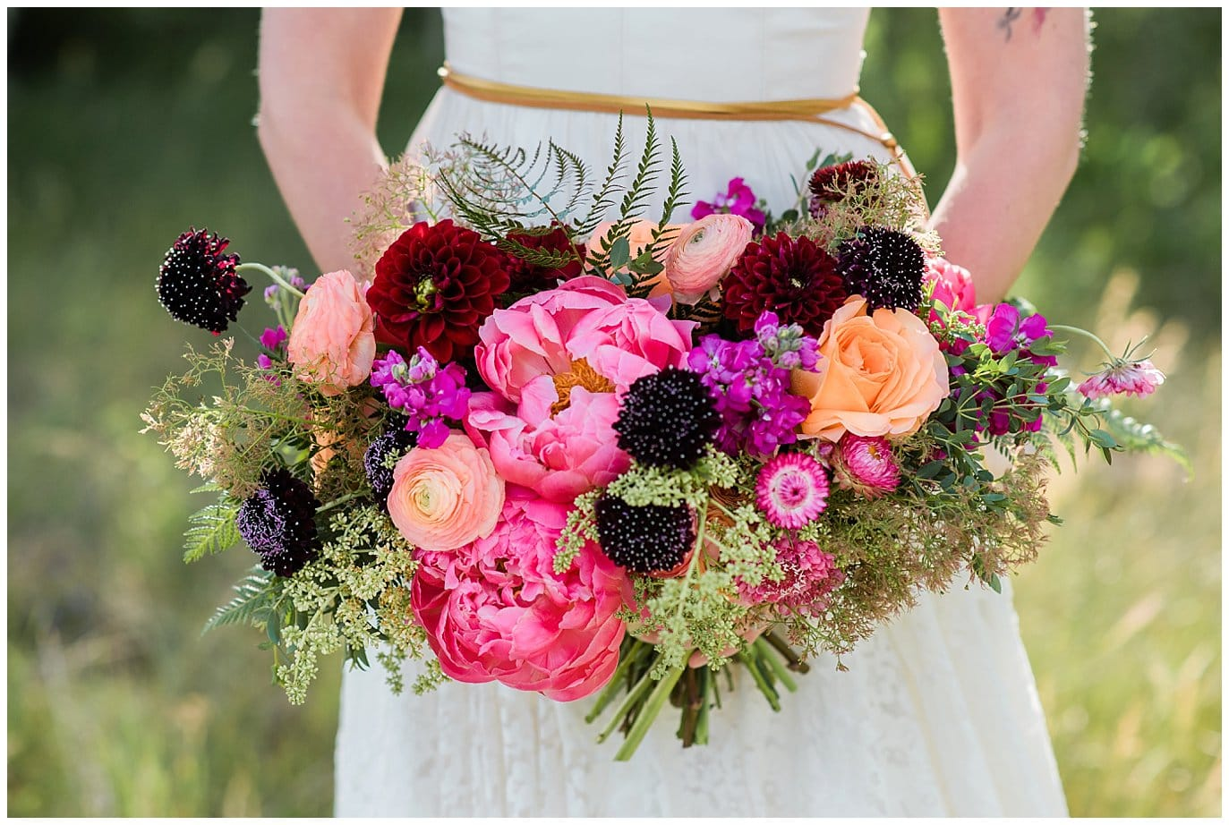 pink, burgundy, and plum wild bridal bouquet photo