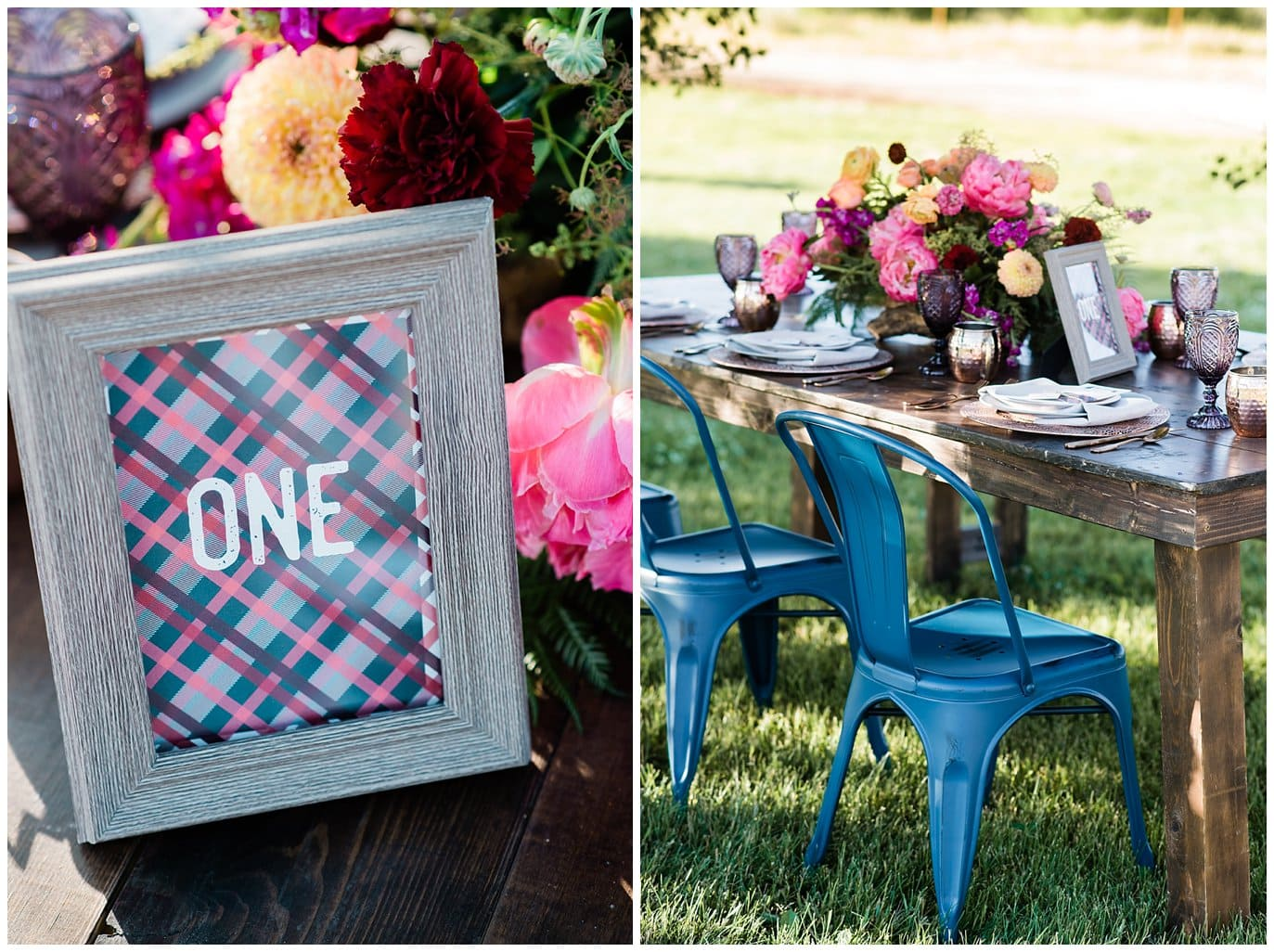 plaid table number and blue metal wedding chairs photo
