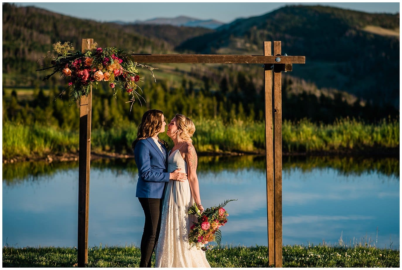 sunset ceremony by lake photo