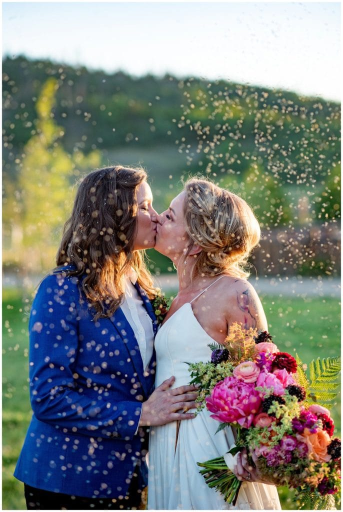 Colorful wedding with lavender send off photo
