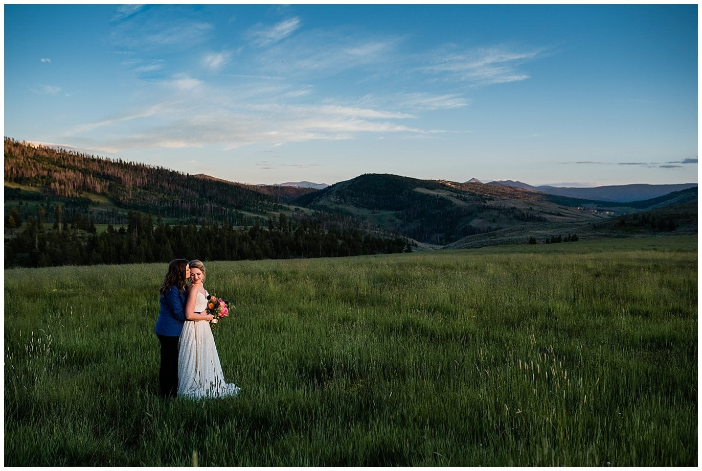 Sunset at Strawberry Creek Ranch wedding photo