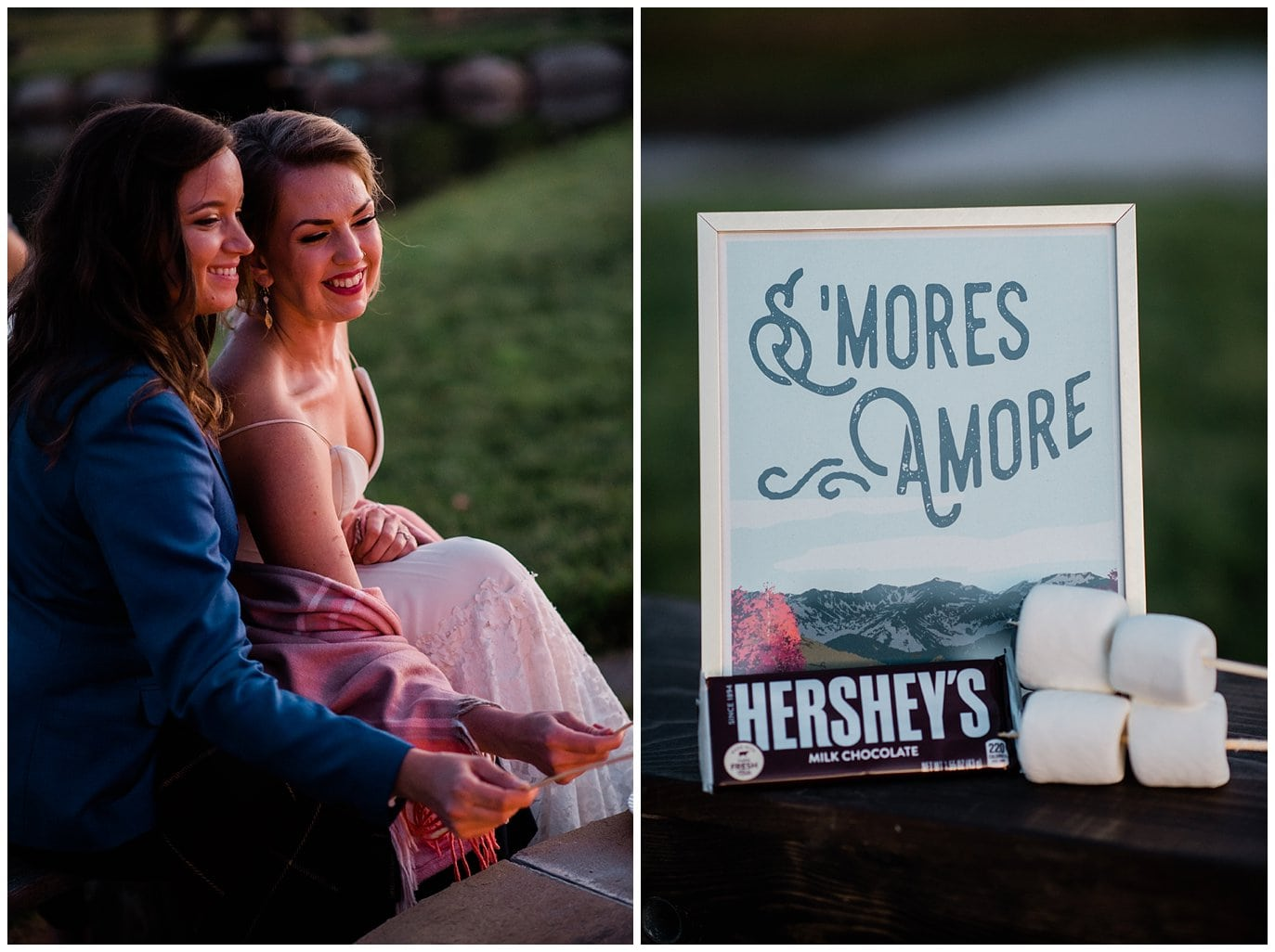 S'mores by firepit at wedding photo