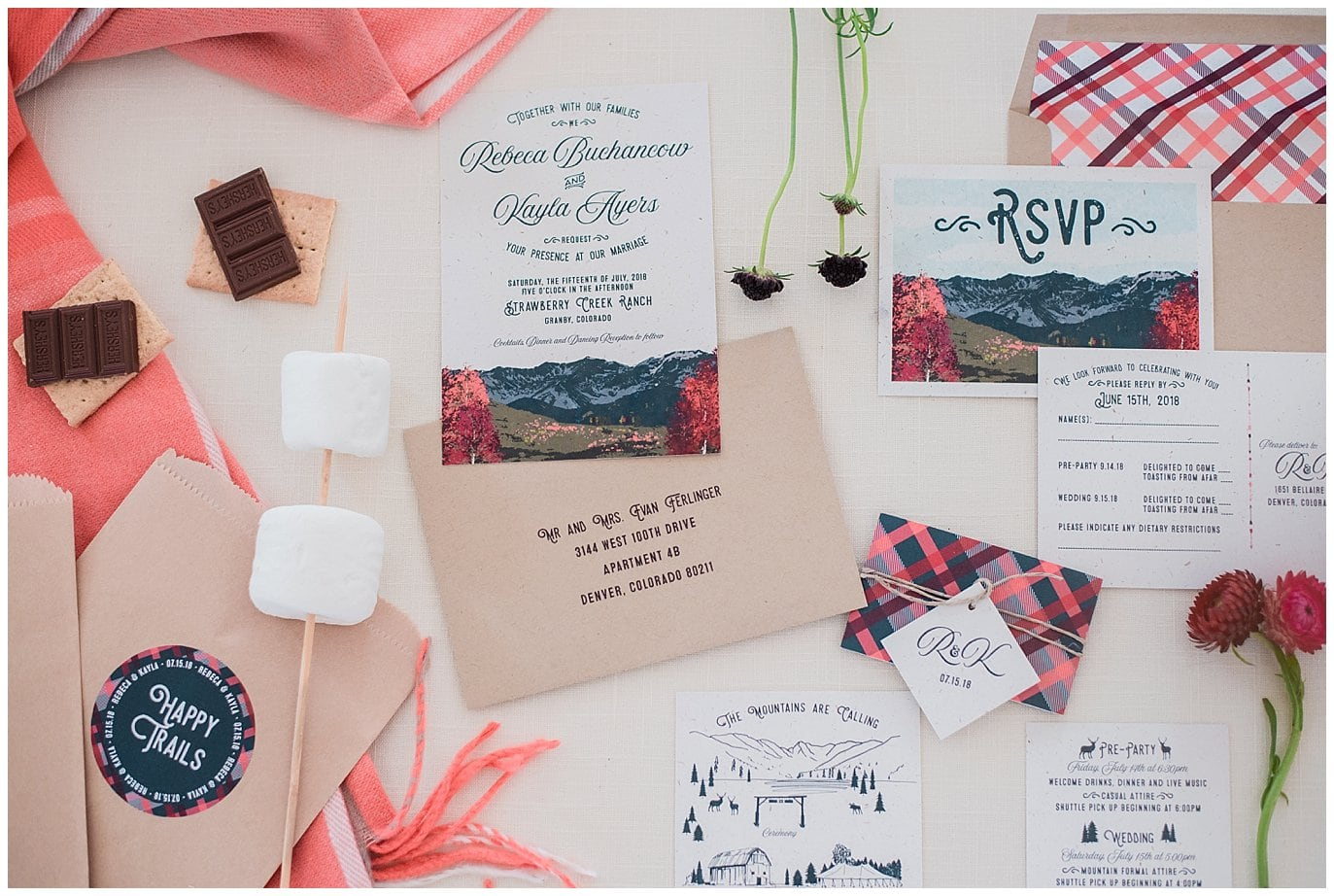 Invitation suite for colorful Rocky Mountain wedding photo