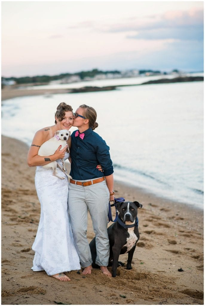 two brides on beach with dogs photo
