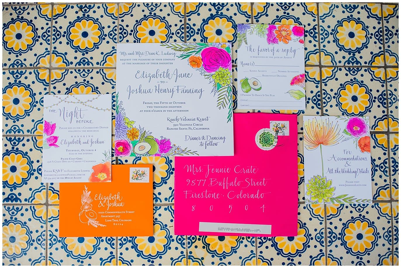 colorful mexican inspired wedding invitation suite photo