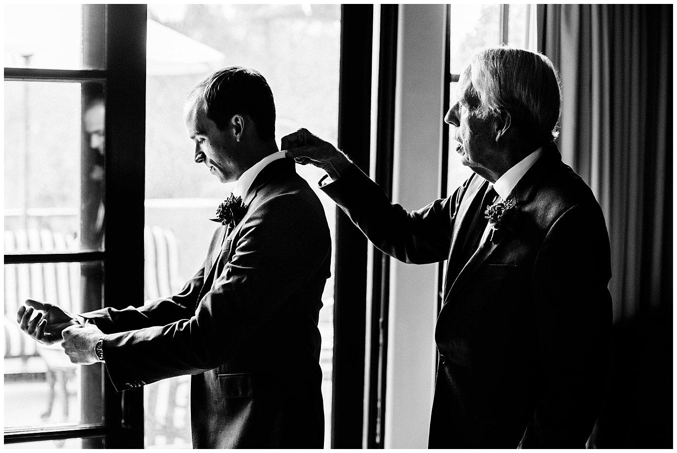 groom and dad getting ready Rancho Valencia wedding photo