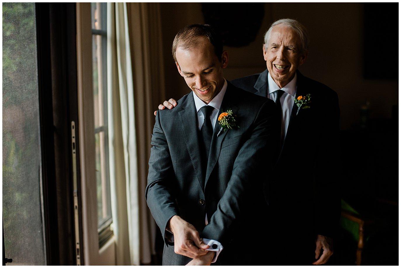 groom and dad getting ready california wedding photo