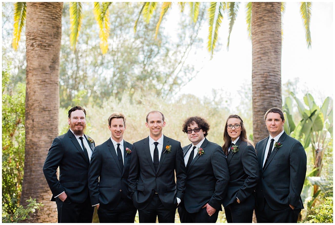 colorful groomsmen at Rancho Valencia Rose Garden photo