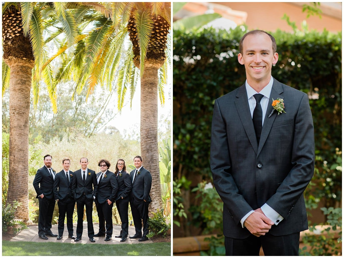 groom and groomsmen with palm trees at california wedding photo