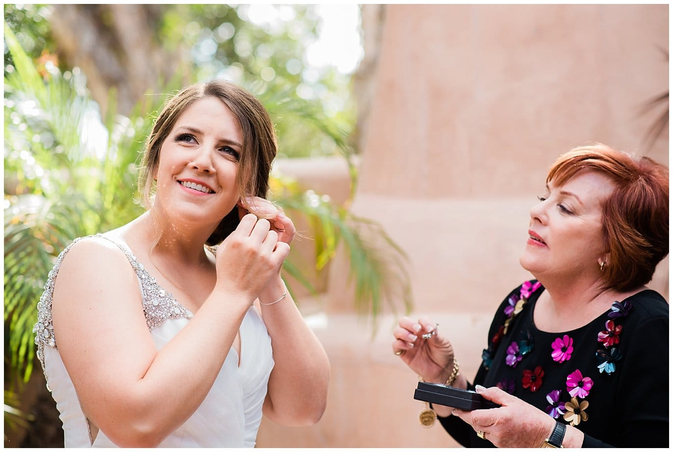 Bride and mother getting ready at Rancho Valencia wedding photo