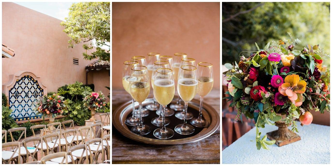 Elegant colorful Rancho Valencia wedding decor photo