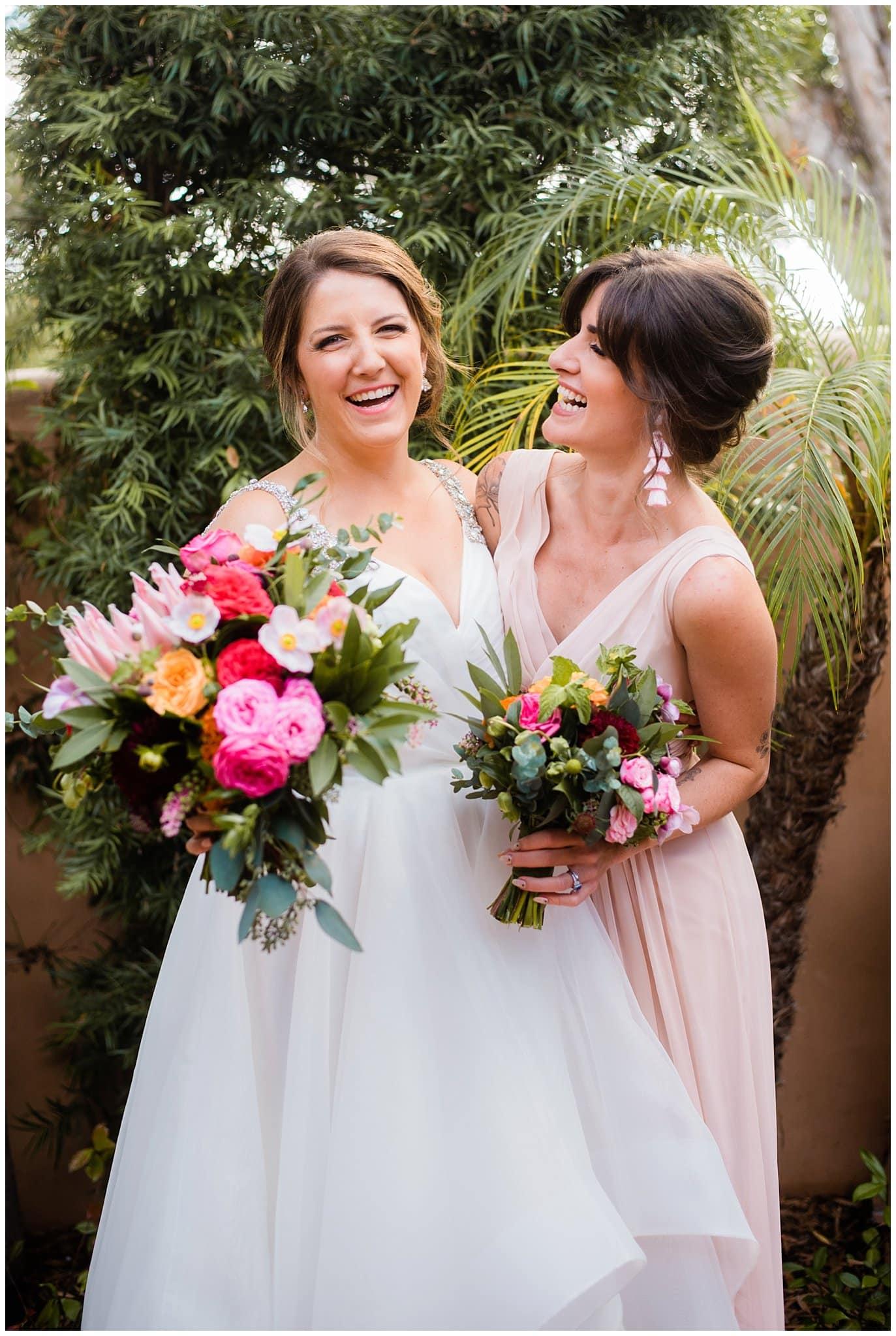 colorful bride and bridesmaid photo
