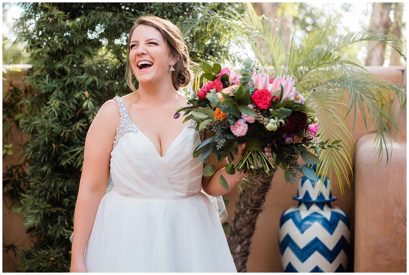 colorful Rancho Valencia bride photo