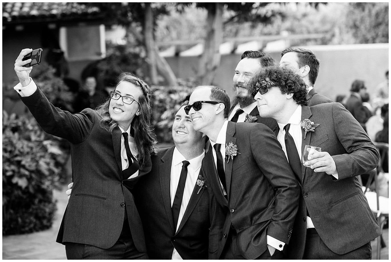 California wedding party selfie photo