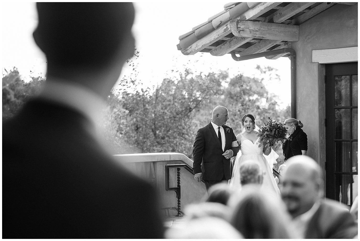 excited bride California wedding ceremony photo